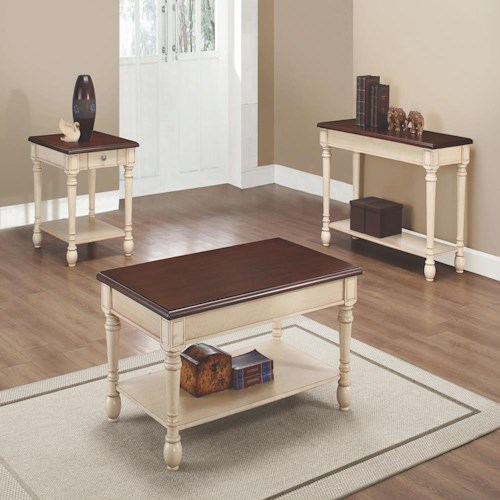Coaster 70441 Two-Toned Transitional Occasional Table Group
