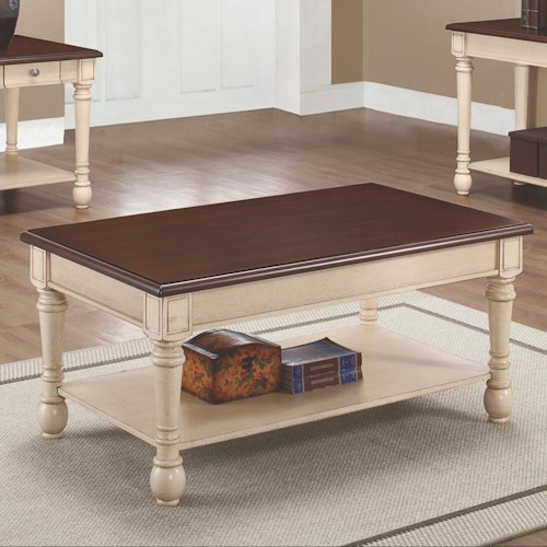 Coaster 70441 Two-Toned Transitional Coffee Table