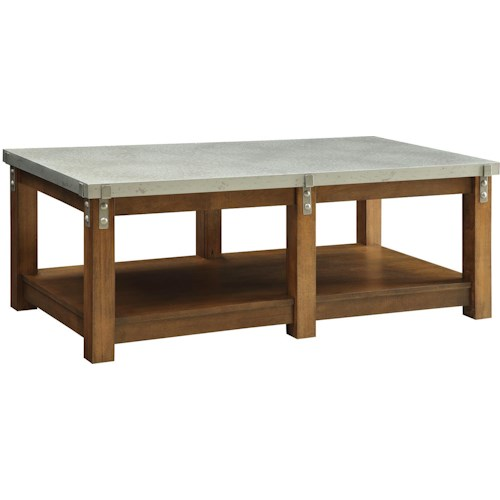 Coaster 70454 Coffee Table with Metal Top and Wood Shelf