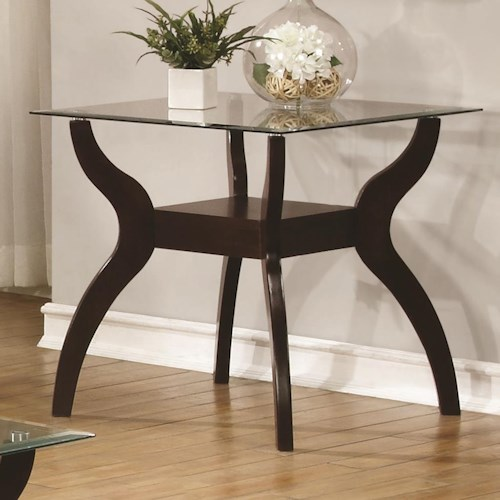 Coaster 70462 Mid Century Modern End Table with Glass Top