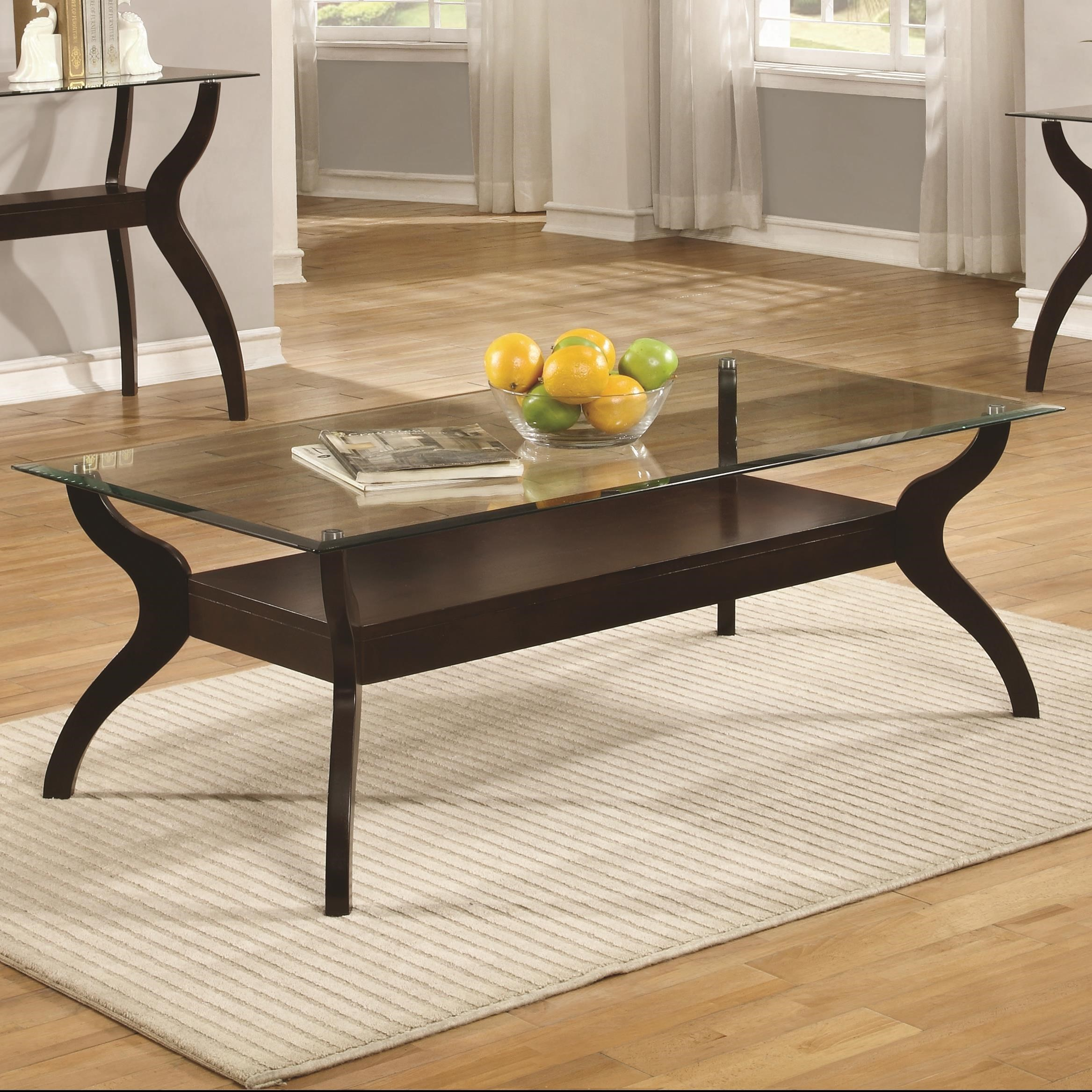 70462 Mid Century Modern Coffee Table With Glass Top By Coaster