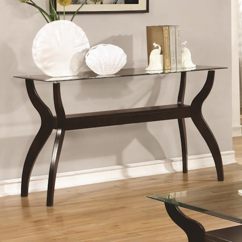 Coaster 70462 Mid Century Modern Sofa Table with Glass Top