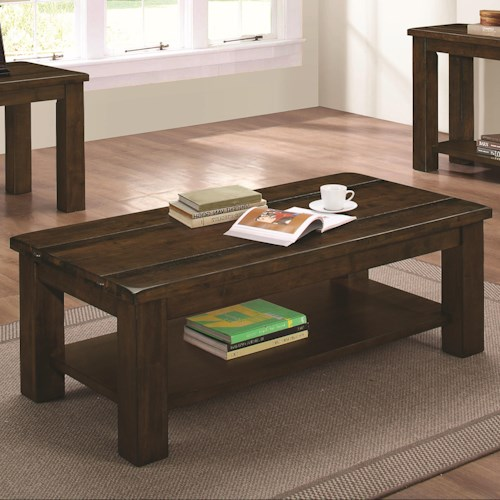 Coaster 70474 Rugged Coffee Table with Rustic Finish