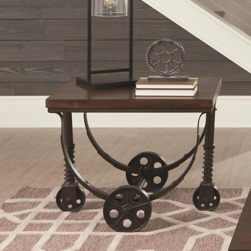 Coaster 70497 Rustic End Table with Industrial Wheels