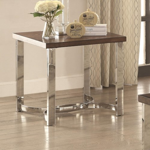 Coaster 70507 Transitional End Table with Chrome Base