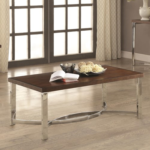 Coaster 70507 Transitional Coffee Table with Chrome Base