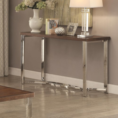 Coaster 70507 Transitional Sofa Table with Chrome Base