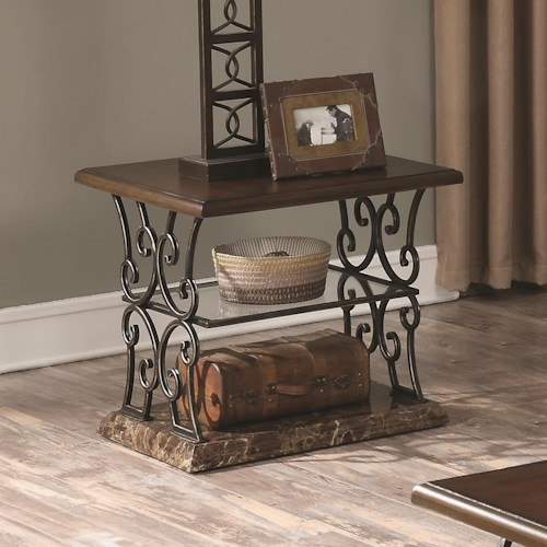 Coaster 70511 Traditional end Table with Ornate Metal Scrollwork Base
