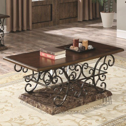 Coaster 70511 Traditional Coffee Table with Ornate Metal Scrollwork Base