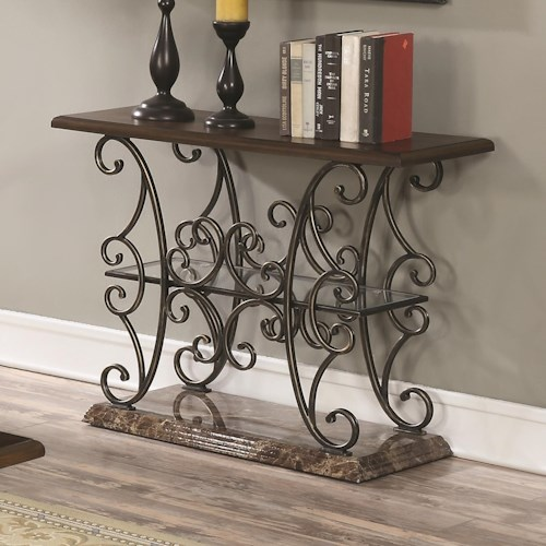 Coaster 70511 Traditional Sofa Table with Ornate Metal Scrollwork Base