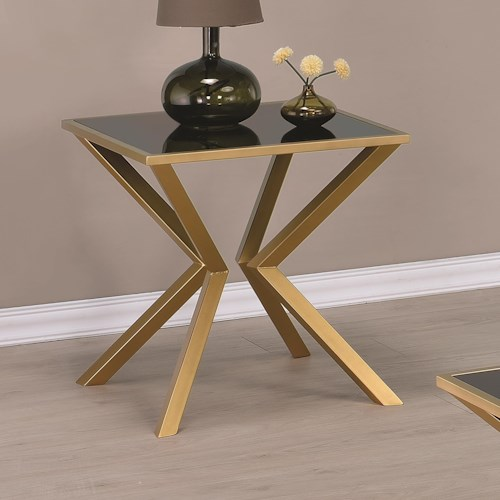 Coaster 70518 Black and Brass Angled End Table