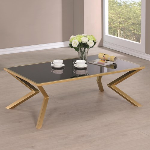 Coaster 70518 Black and Brass Angled Leg Coffee Table