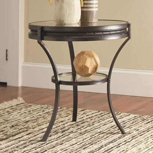 Coaster 70521 Round Industrial End Table with Glass Top