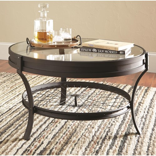 Coaster 70521 Round Coffee Table with Bike Spoke Bottom Shelf