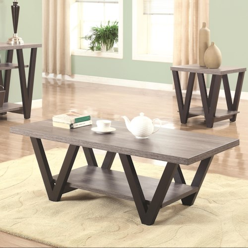 Coaster 70539 Two-Tone Angled Leg Coffee Table