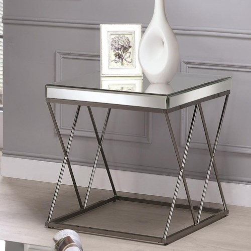 Coaster 70547 Contemporary Mirrored End Table with Metal Legs
