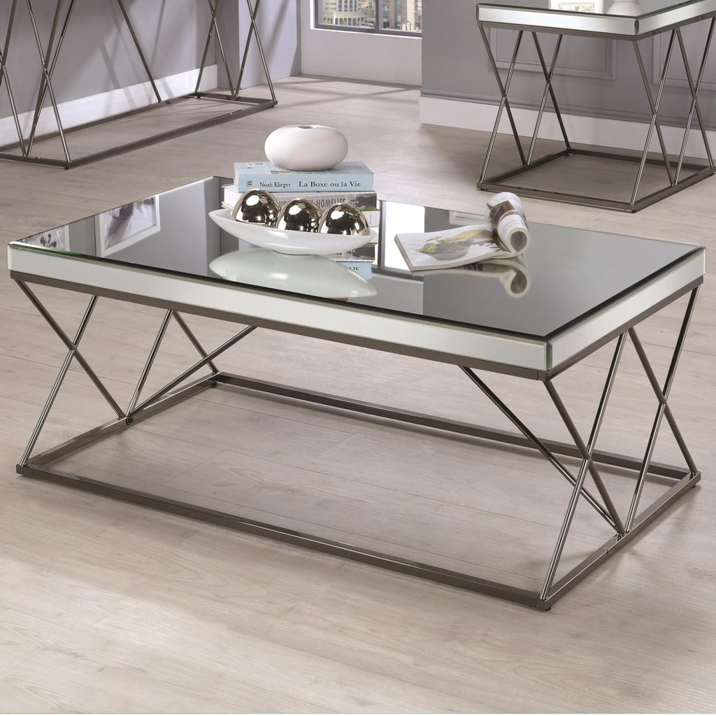 Coaster 70547 705478 contemporary mirrored coffee table with metal legs dunk bright furniture cocktail coffee tables