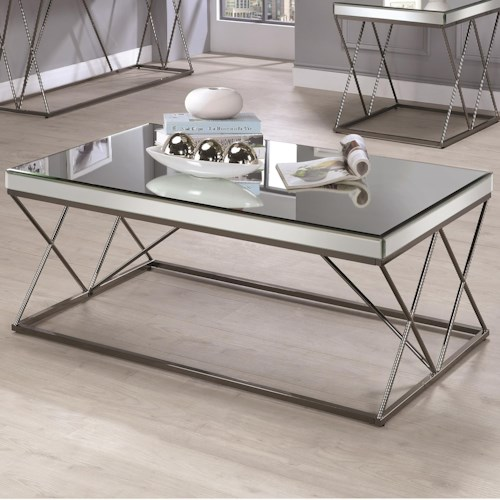 Coaster 70547 Contemporary Mirrored Coffee Table with Metal Legs
