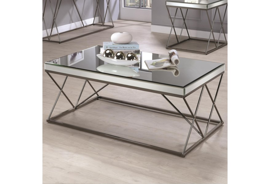 Amazing 70547 Contemporary Mirrored Coffee Table With Metal Legs By Coaster At Dunk Bright Furniture Theyellowbook Wood Chair Design Ideas Theyellowbookinfo