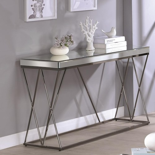 Coaster 70547 Contemporary Mirrored Sofa Table with Metal Legs