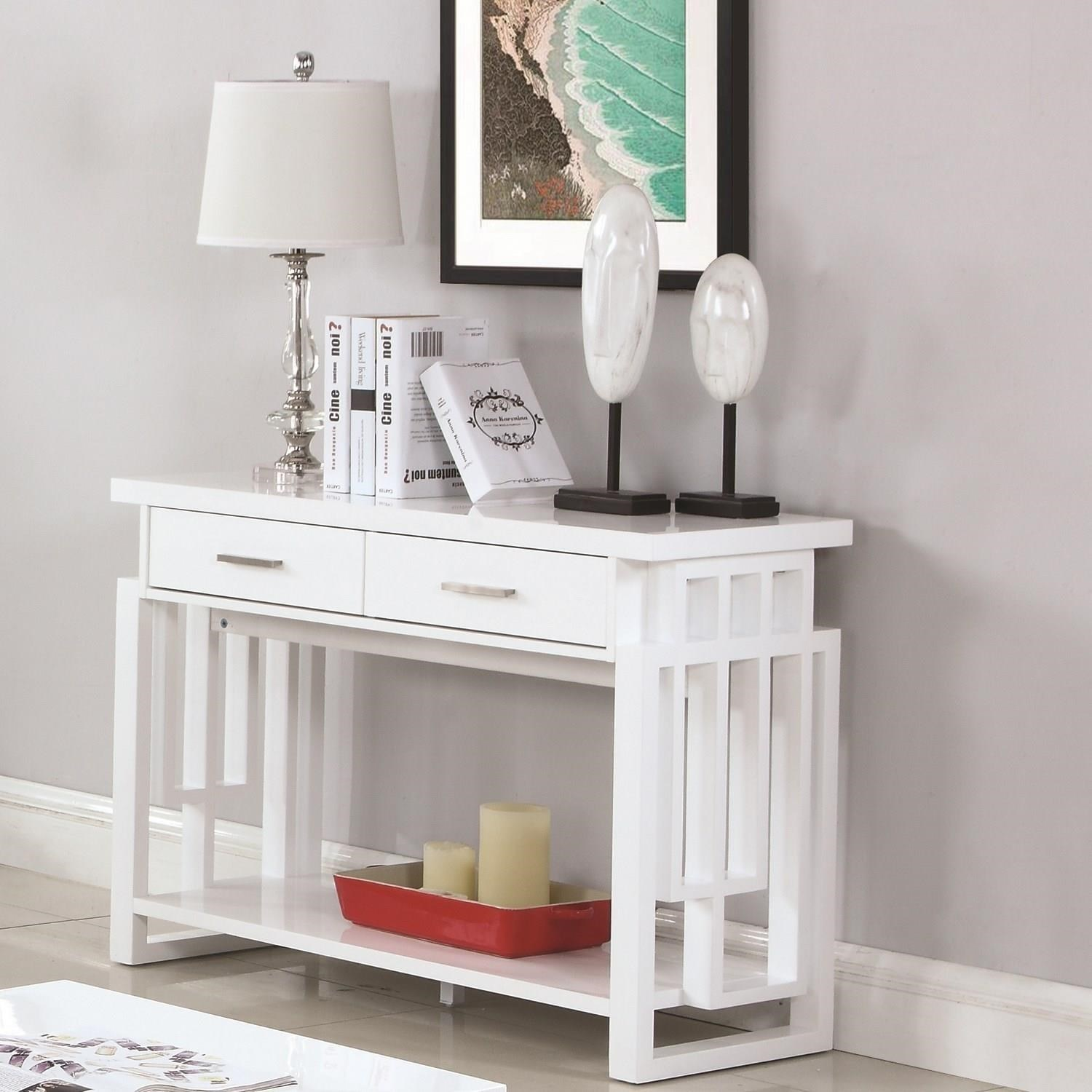 Contemporary Sofa Table with Two Drawers