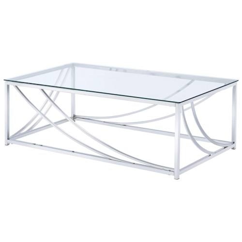 Coaster 720490 Modern Glass Top Cocktail Table
