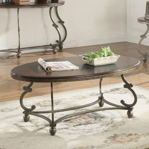 Coaster 720540 Traditional Oval Coffee Table