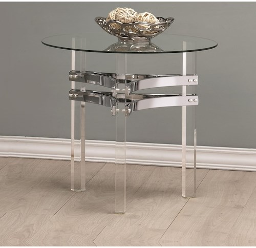 Coaster 72070 Contemporary Glass End Table with Chrome Base