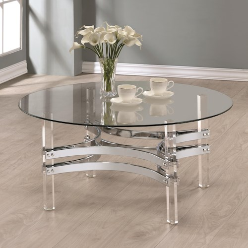 Coaster 72070 Contemporary Glass Coffee Table with Acrylic Base