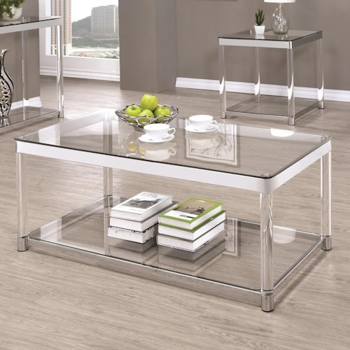 Coaster 72074 Contemporary Glass Top Coffee Table with Acrylic Legs