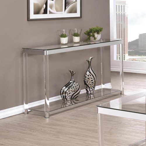 Coaster 72074 Contemporary Glass Top Sofa Table with Acrylic Legs