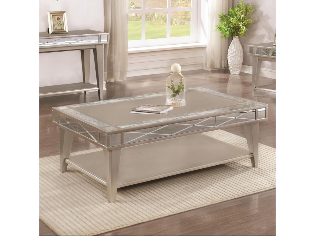 72088 Bling Mirrored Coffee Table By Coaster