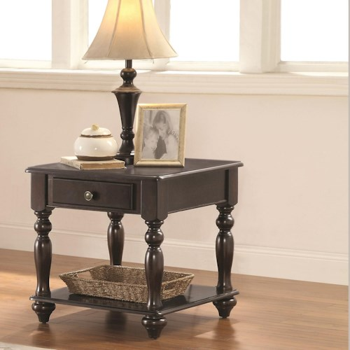 Coaster 72101 Square End Table with Drawer and Shelf