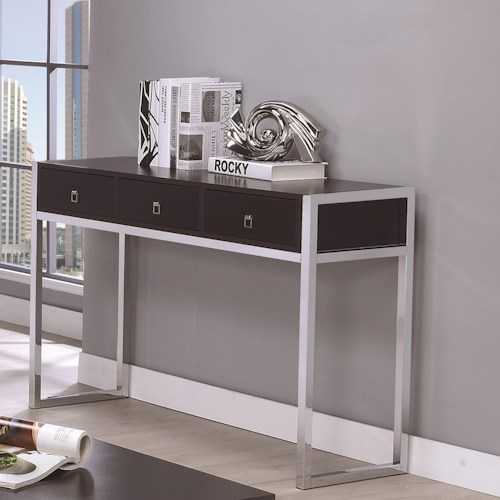 Coaster 72102 Contemporary Rectangular Sofa Table with Three Drawers