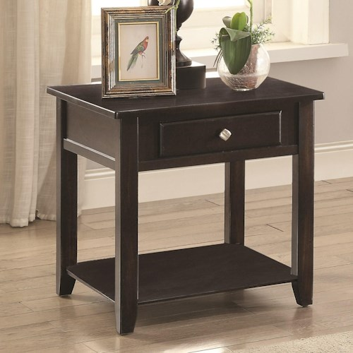 Coaster 72103 Square End Table with Drawer and Shelf