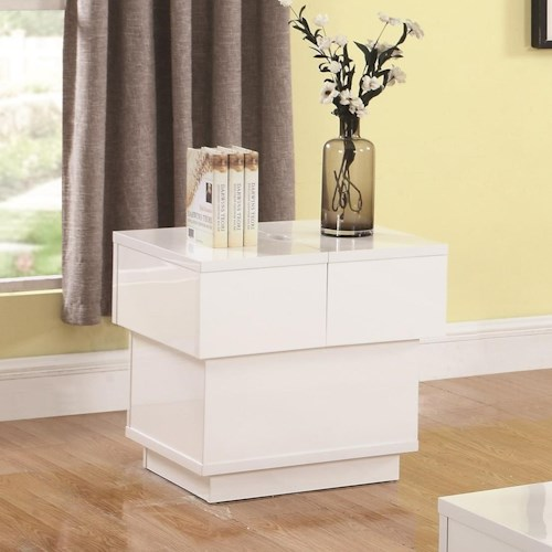 Coaster 72108 Contemporary End Table with Interior Storage