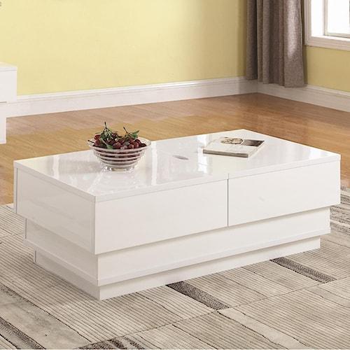 Coaster 72108 Contemporary Coffee Table with Interior Storage