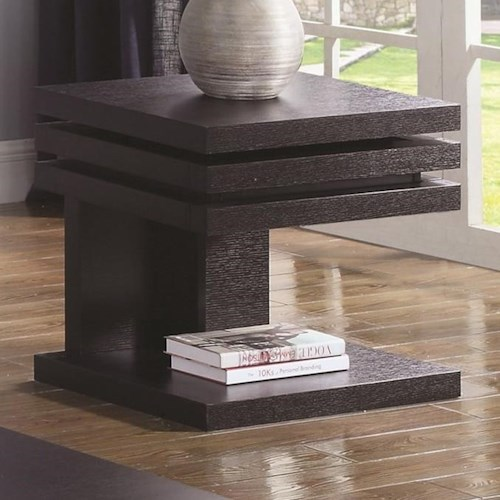 Coaster 72119 Rectangular End Table with Pull Out Shelf