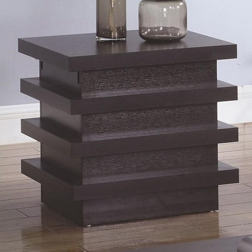 Coaster 72119 Rectangular End Table with Storage Compartment