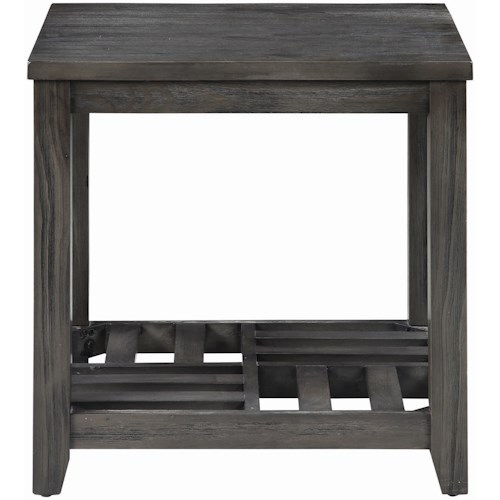 Coaster Occasional Group Gray Finish End Table with Slat Shelf