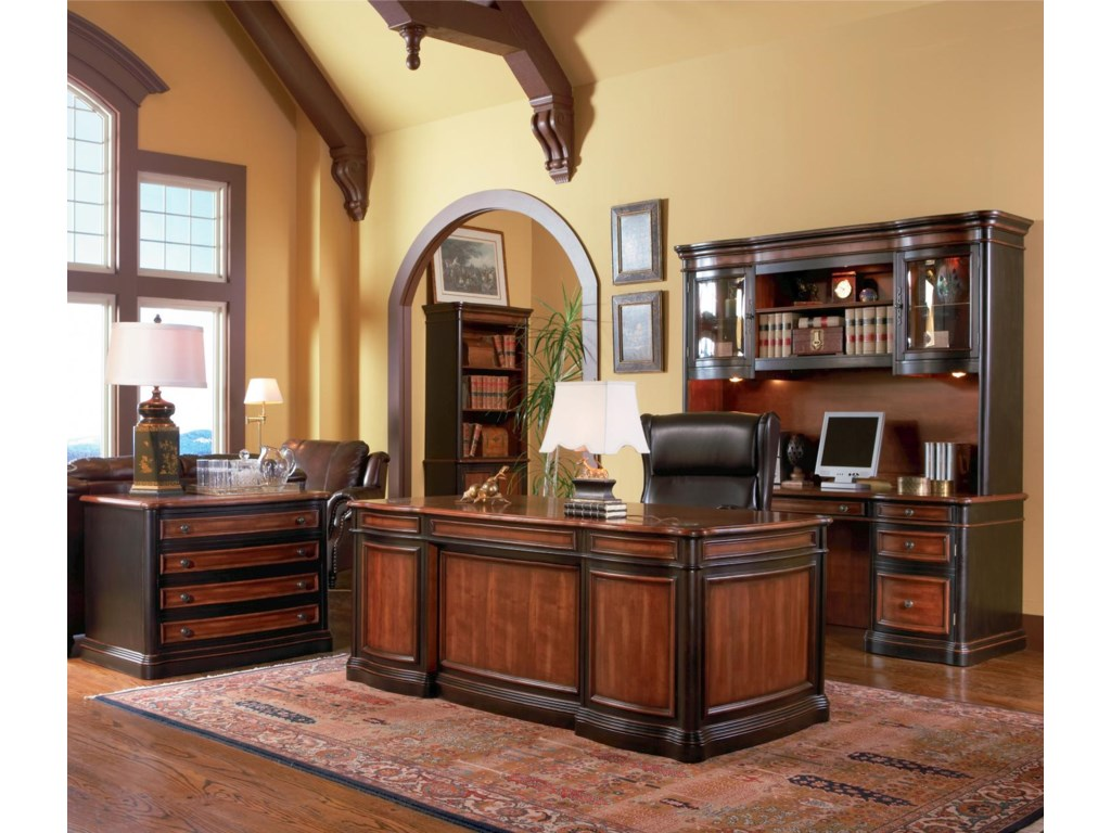 Shown in Room Setting with File Cabinet, Desk, Bookcase, and Hutch