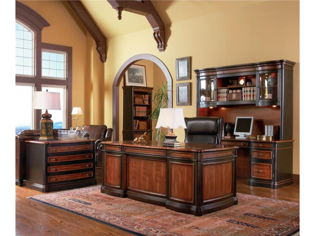 Shown in Room Setting with Bookcase, Desk, and Credenza with Hutch