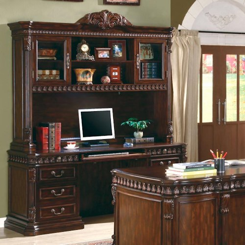 Coaster Tucker Computer Desk & Hutch with Detailed Carvings