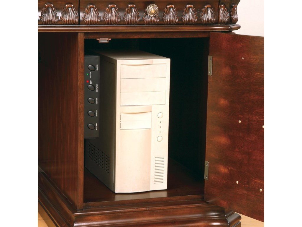 Computer Tower Storage Cabinet in Right Pedestal, with Pencil Drawer Above
