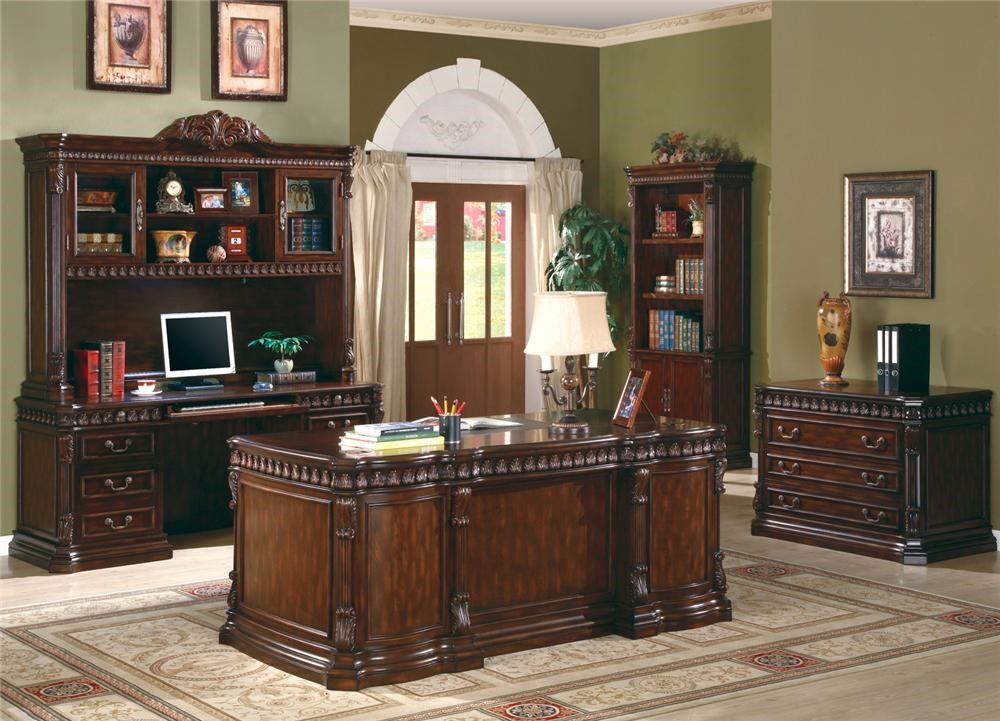 Shown in Room Setting with Computer Desk and Hutch, Desk, and Bookcase