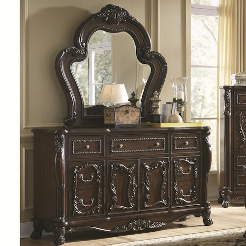 Coaster Abigail Dresser With 7 Drawers And 2 Doors And Mirror