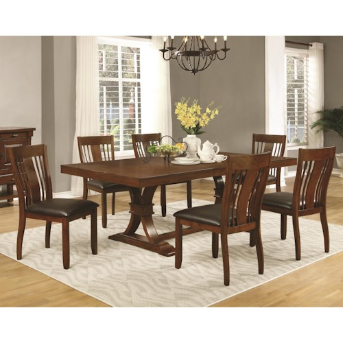 Coaster Abrams 7 Piece Dining Table Set with Slat Back Side Chairs