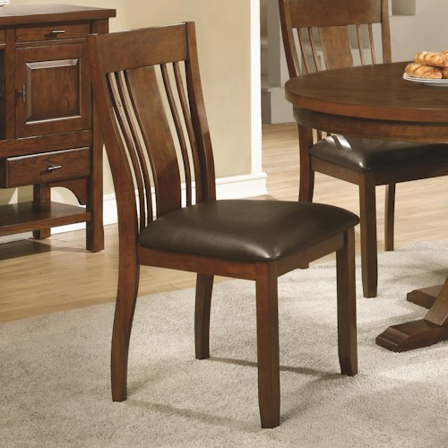 Coaster Abrams Side Chair with Arts & Crafts Slat Back and Leatherette Seat