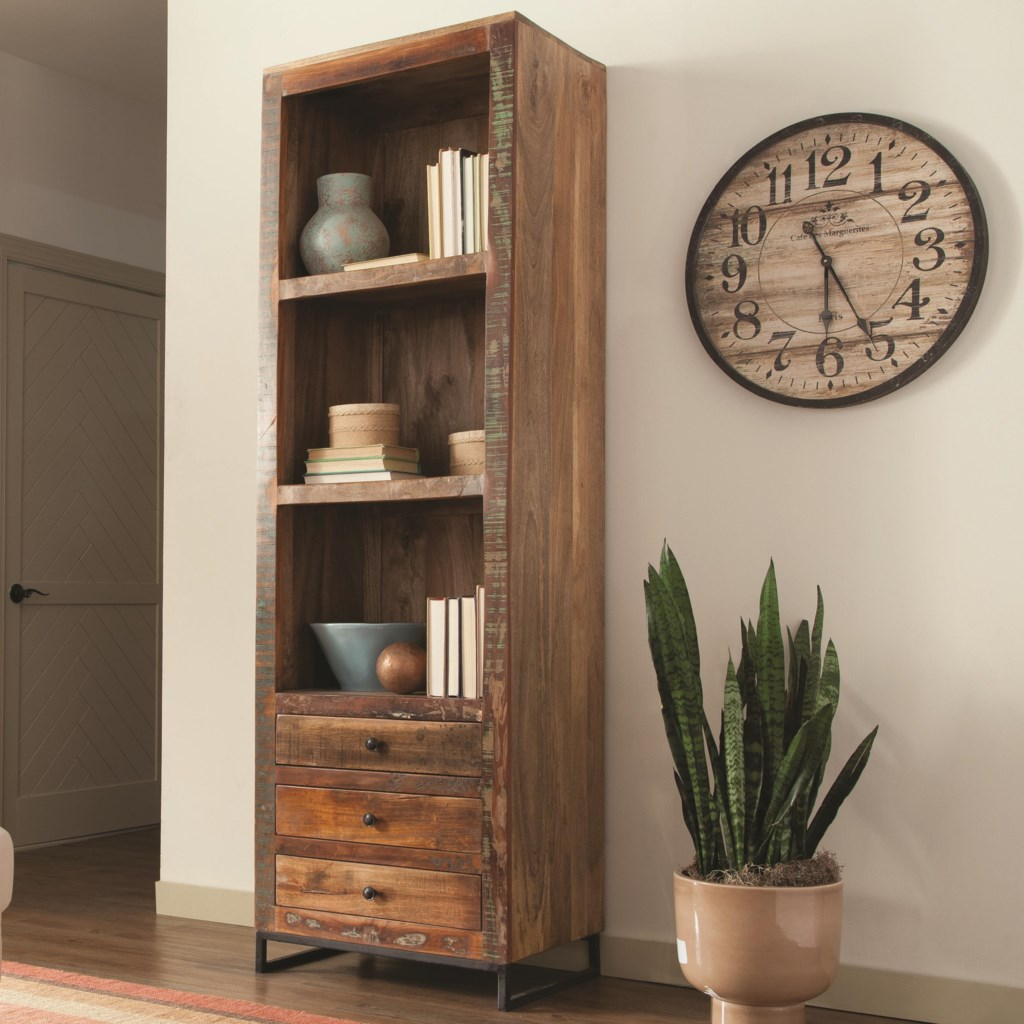 Accent cabinets tall open bookcase by coaster