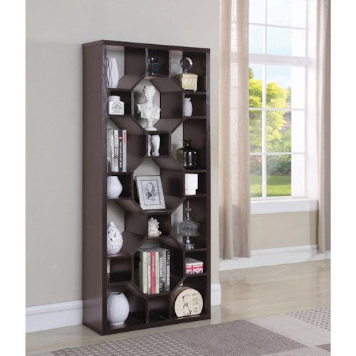 Coaster Accent Cabinets Contemporary Bookcase with 21 Shelves